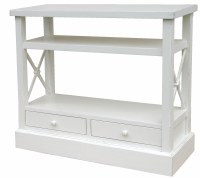 "44"" White 2 Drawer 2 Shelf Crossbar Console Table"