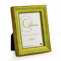"2"" x 3"" Distressed Green and Gold Finish Photo Frame"