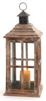 "23"" Square Wood & Glass Lantern"