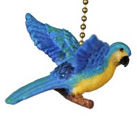"""2"""" Blue and Yellow Parrot Fan Pull"""