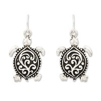 Distressed Silver Finish Scrollwork Sea Turtle Earrings
