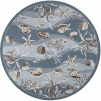 7 ft. 6 in. Round Blue Seafoam Shells Sonesta Rug