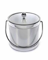 "7"" Metallic Brushed Silver 3 Quart Lidded Ice Bucket with Handle"