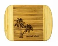 """6"""" x 8"""" Sanibel Island Two Tone Palm Tree Wood Cutting Board"""