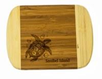 """6"""" x 8"""" Sanibel Island Two Tone  Turtle Wood Cutting Board"""
