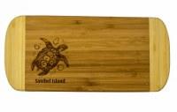 """6"""" x 13"""" Sanibel Island Two Tone Turtle Wood Cutting Board"""