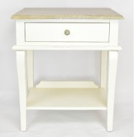 """25"""" Driftwood Top Rustic White Side Table"""