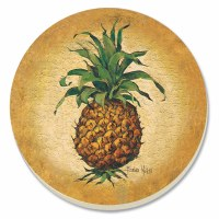 "4"" Round Set of 4 Gold and Green Pineapple Pizzazz Coasters"