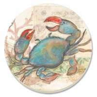 "4"" Round Set of 4 Multicolor Painted Blue Crab Coasters"