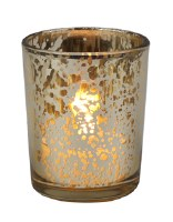 "3"" Rustic Gold Glass Votive Holder"