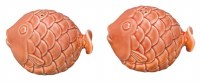 """4"""" Set of 2 Coral Textured Ceramic Fish Salt and Pepper Shakers"""
