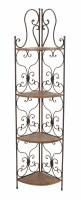 "66"" Wood & Metal Scroll Corner Rack"