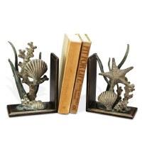 "8"" Bronze and Verdigris Metal Aluminum Sea Life Bookends"