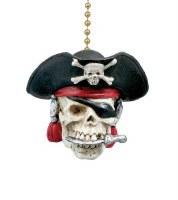 """2"""" Multicolor Pirate Skull Fan Pull"""