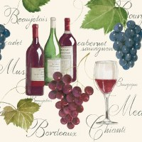 "5"" Square Red Wine & Grapes Beverage Napkins"