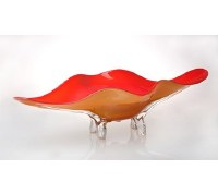 """27"""" Orange Oval 4 Footed Glass Bowl"""