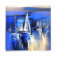"""36"""" Square Blue Sailboats at DuskGiclee on Canvas"""