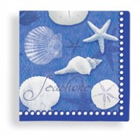 "5"" Square Deep Blue and White Seashells Beverage Napkins"