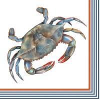 """5"""" Square Blue Crab Beverage Napkins"""