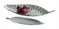 """17"""" Small Silver Textured Leaf Tray"""