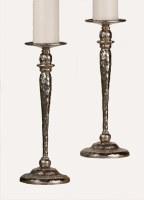 "16"" Textured Distressed Silver Finish Pillar Holder"