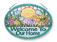 "7"" x 9"" Large Oval Multicolor Welcome Home Shells Glass Suncatcher"