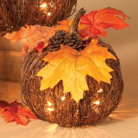 "8"" Light Up Woven Twig Electric Pumpkin"