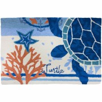 1 ft. 10 in. x 2 ft. 10 in. Blue and White Turtle Medallion Rug