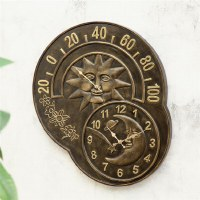 "24"" Bronze Sun and Moon Clock Thermometer"