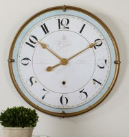 "32"" Light Blue & White Gold Framed Clock"