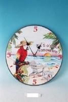 """14"""" Red Macaw 5 O'clock Somewhere Clock"""