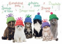 "5"" x 7"" Caroling Cats in Hats Christmas Greeting Card"