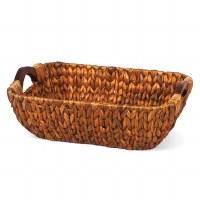 "14"" Rectangular Brown Woven Hyacinth Wood Handled Basket"