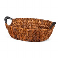 """13"""" Oval Brown Woven Hyacinth Wire Handled Basket"""