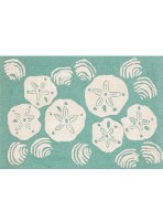 2 ft. 6 in. x 4 ft. Aqua Sand Dollar Shell Rug