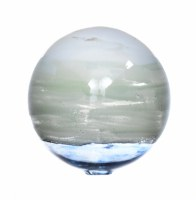 "5"" Blue and White Ocean Blown Glass Orb"