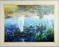 "30"" x 40"" White Egret in Blue Marsh Giclee on Canvas in Frame"