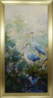 """48"""" x 24"""" Two Blue Herons in Trees Giclee on Canvas in Frame"""