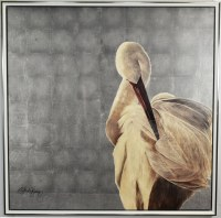 """40"""" Square White Egret Giclee on Canvas in Silver Frame"""
