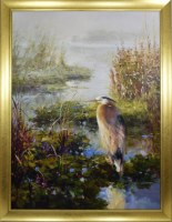 """48"""" x 36"""" Great Blue Heron in Marsh Giclee on Canvas in Frame"""