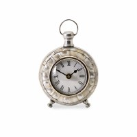 "6"" Round Silver & Mother of Pearl Desk Clock"