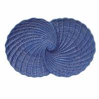 "13"" Blue Double Nautilus Shell Dish"