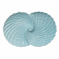 "13"" Light Aqua Double Nautilus Shell Dish"