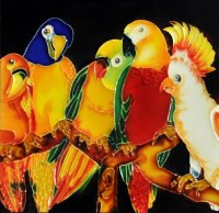 """8"""" Square Multicolor 5 Parrots Tile"""