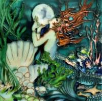 "8"" Square Thriving Green Undersea Mermaid Painted Tile"
