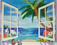 """11"""" X 14"""" Beach House Hibiscus Palm Window View Painted Tile"""