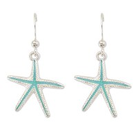 Silver & Turquoise Starfish Earrings