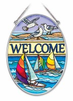 """7"""" x 5"""" Medium Oval Multicolor Seaside Welcome Glass Suncatcher"""