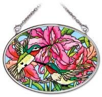 "3"" x 5"" Small Oval Multicolor Hummingbird Daylilies Glass Suncatcher"