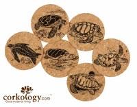 "4"" Set of 6 Sea Turtle Cork Coasters"